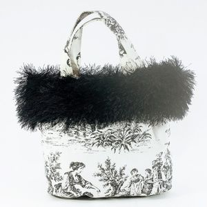 Handbags - Vintage french inspired faux fur mini handbag